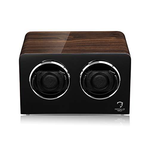 MODALO Uhrenbeweger (Watch Winder) Inspiration MV4 für 2 Uhren Walnuss-Holz Design