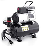 TIMBERTECH Professional Upgraded Airbrush Compressor with 3L Tank, ABPST08 Quiet Airbrush Air Compressor with Cool Down Fan for Airbrush Painting, Makeup, Nail and Tattoo Studios, Hobby