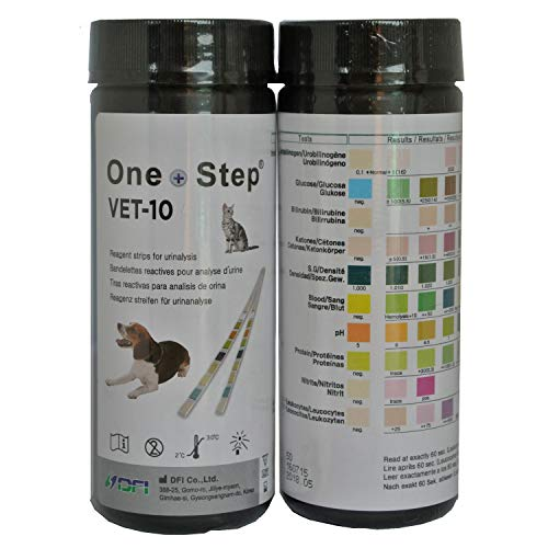 One Step Vet Pet Urine Test Strips Dog, Cat, UTI, Diabetes, Kidney, Liver, Blood, Ketones (VET-10/100 Test)