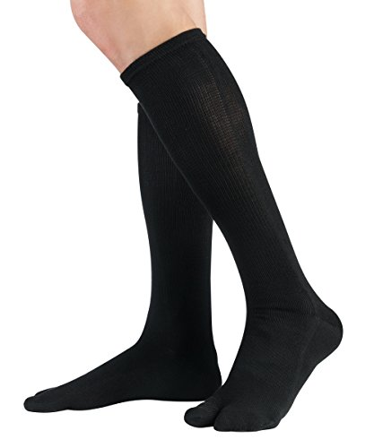 Knitido Traditionals Tabi   Calze giapponesi con alluce separato in cotone lunghezza ginocchio, Misura:39-42, Colori:nero (001)
