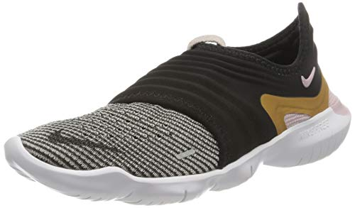 Nike Damen Free Run Flyknit 3.0 Straßen-Laufschuh, Black/Metallic Gold-Plum Chalk, 39 EU