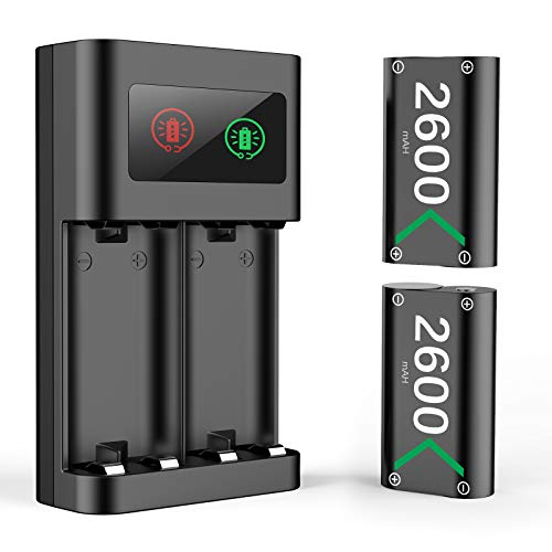 Bateria Mando para Xbox One Series X S, Cargador Mando Sets de Baterías y Cargadores Battery Recargable Accesorios para Xbox One/ Xbox One S/Xbox One X/Elite/Xbox Series X S Controller, 2x 2600 mAh