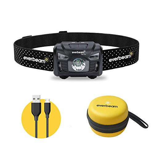 Everbeam Torcia Frontale LED H6 Pro, Sensore di Movimento, Luminosit 650 Lumen, Autonomia 30 ore, Batteria 1200 mAh Ricaricabile USB, Impermeabile, Campeggio, Escursioni, Pesca, Lavoro, Bicicletta