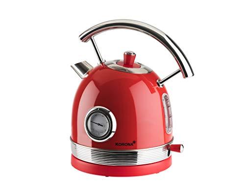 Korona 20667 Hervidor Retro | Rojo | Indicador de temperatura retro | 2200 Watt | 1,8 Litros