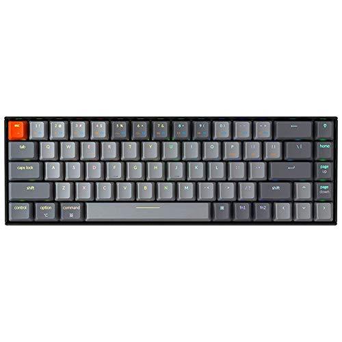 Keychron K6 68キー Bluetooth ワイヤレス/USB有線ゲーミングメカニカルキーボード RGBバックライト/光学レッドスイッチ/Nキーロールオーバー Mac Windows用コンパクト65%レイアウトキーボード
