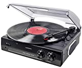 Lauson CL502 Turntable, USB Vinyl-to-MP3, Vinyl Record Player 2 Speed, Stereo Built in Speakers, Belt-Driven, Black