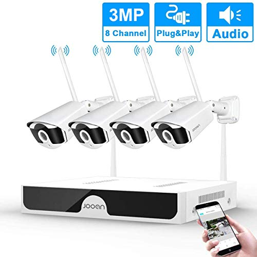 JOOAN【2020 updated】3MP Security Camera System wireless,8-Channel NVR&4Pcs FHD 1536P(clearer than 1080P)Audio Record CCTV Cameras,Waterproof&Good Night Vision,Motion Dectection&Email Alarm