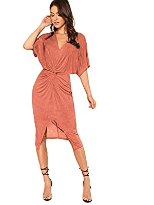 """Fabric has elasticity V-neck, short sleeve, twist front, slim hem, batwing midi dress Fit for everyday dressing Model: Height:171cm/5'7"""", Bust:81cm/32"""", Waist:61cm/24"""", Hip:86cm/34"""", Wear: S Please refer to Size Chart in Product Description as below"""