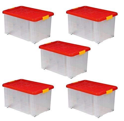 ARTECSIS 5 x Aufbewahrungsboxen aus Plastik, 60x40x30 cm, mit Deckel, Eurobox, mit Rollen, stapelbar, 55L