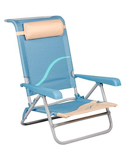 Meerweh Erwachsene Strandstuhl mit Verstellbarer Rückenlehne und Kopfpolster Klappstuhl Anglerstuhl, beige/blau Campingstuhl, XXL