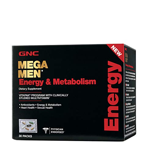 GNC Mega Men Energy & Metabolism Vitapak, 30 Packs, Promotes Energy, Heart Health and Sexual Health