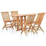 vidaXL Solid Teak Wood 5 Piece Folding Outdoor Dining Set Garden Patio Backyard Meal Dinner Chairs Table