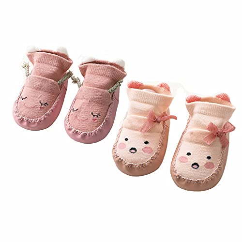 Calzini Antiscivolo Bambino Ciabatte Gommati Bambini Cotone estivi pantofole Calzino per Pavimento da 2 paia 0-6 Mesi a 1-2 Anni(Rosa e Pink,6-12 mesi)
