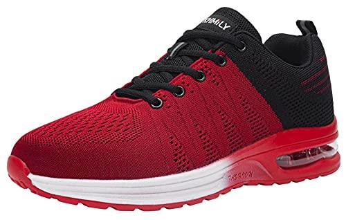 DYKHMILY Zapatillas de Seguridad Hombre Ligeras Comodo Calzado de Seguridad Deportivo con Puntera de Acero Zapatos de Seguridad Trabajo Verano Construcción Zapatos(Negro Rojo,43.5 EU)