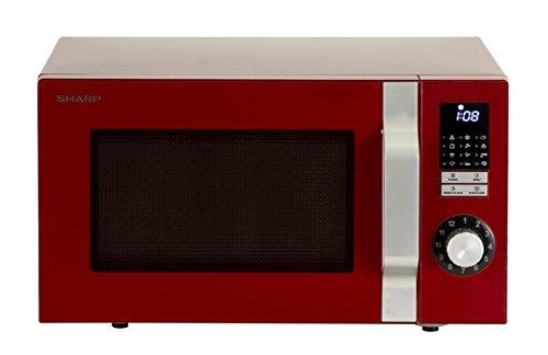 Sharp R344RD Solo-Retro-Mikrowelle / 25 L / 900 W / 6 Leistungsstufen / LED-Display / 12 Automatikprogramme / Timer / 30 Sekunden-Funktion / Gewichtgesteuertes Auftauen / Kindersicherung / rot
