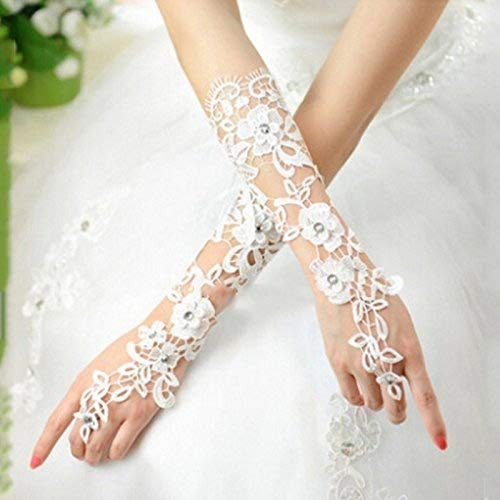 Kofun Bride Gloves For Wedding Lace Bridal Dress Luxury Long Fingerless Accessories Party...