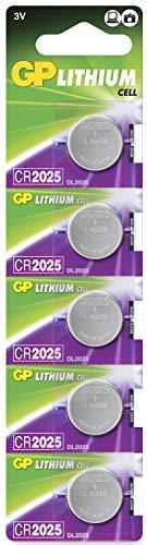 Pilas CR2025 - Pack de 5 | GP Extra| Litio CR 2025 3V- Botón de Alto Rendimiento para básculas, calculadoras, termómetros