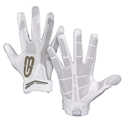 GRIP BOOST Stealth Football Gloves PRO Elite (Bianca, Large)