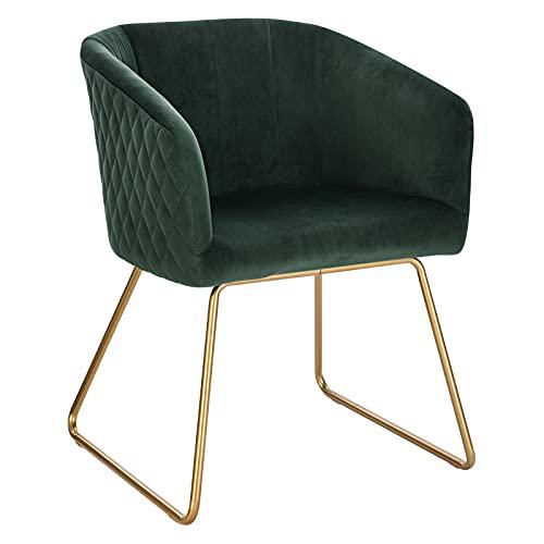 WOLTU Sedia da Cucina in Velluto Verde Scuro Poltroncina per Soggiorno Lounge Grande Seduta Morbida BH271dgn-1