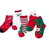 Christmas Socks Unisex Children Kid socks, Christmas Gift Cute Baby Socks Cotton Funny Socks for Baby,Kid,Boy and Girl 5 Pairs (M(4-6 years))