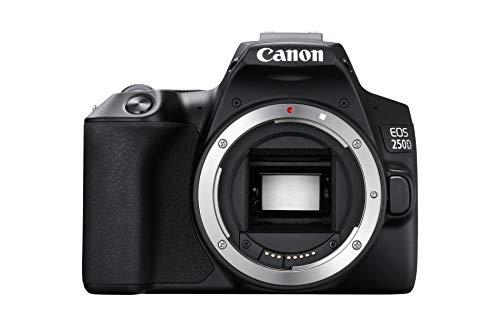 EOS 250D Fotocamera reflex digitale (24, 1 Megapixel, display Vari-Angle da 7,7 cm (3 pollici), sensore APS-C, 4K, Full HD, DIGIC 8, WLAN, Bluetooth), alloggiamento nero