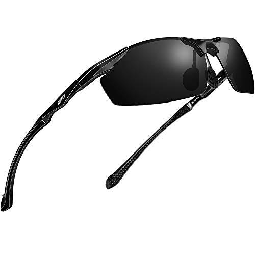 ATTCL Lunettes de soleil polarisées pour hommes pêche sportive 8585 Black