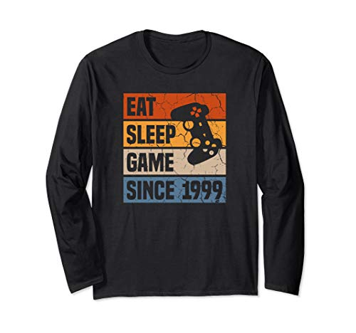 21 Years Eat Sleep Game Since 1999 Gaming 21st Birthday Long Sleeve T-Shirt