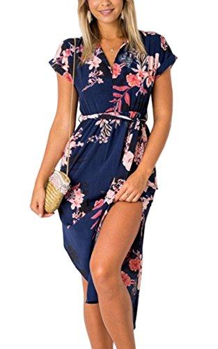 ECOWISH Sommerkleider Damen Kurzarm V-Ausschnitt Strand Blumen Kleider Abendkleid Knielang Blau M