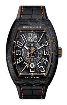 Franck Muller, Encrypto, Mens 45mm, Carbon Fiber Case, Black Elemento - Aligator Black, Orange Stitch