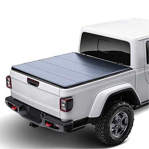 Newhome Sharcar Pickup Truck Bed 5.5' Black Hard Tonneau Cover (Quad-Fold) Compatible with 2015-2020 Ford F-150 w/Out (Without) Utility Rails