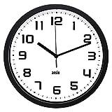 ANSIO Horloge Murale, Horloge Murale Ronde avec Cadre Noir, Fond Blanc et...