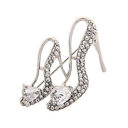 P Prettyia Señoras de Plata Rhinestone de Cristal Zapatos de Tacón Alto de Reina Forma Broche Pin