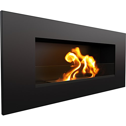 Itapol Produkt Delta2 Bioethanol Fireplace with Glass 90 x 40 cm and Aromatherapy Kit + Decorative Stones