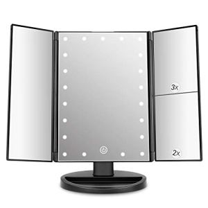 deweisn Tri-Fold Lighted Vanity Mirror with 21 LED Lights, Touch Screen and 3X/2X/1X Magnification, Two Power Supply… 15