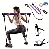 TTCB Portable Yoga Bar with Stretch Band, Booty Workout at Home Workout Equipment, Fitness Equipment for Home Workouts, Workout Equipment for Home Workouts for Women(Purple)