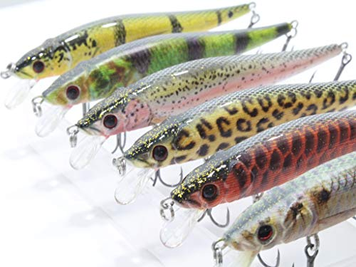 6 Hard Baits Jerkbait Fishing Lures Plus Free Tackle Box Slow Floating Tight Wobble Weight Transfer...