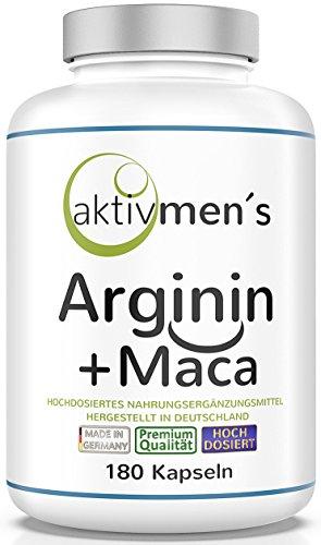 aktivmen´s Arginin + Maca hochdosiert - für stark aktive Männer, von Experten* geprüft - 100% vegan, 180 Kapseln, L-Arginin Base 3600 + Maca 6000 (Maca Wurzel Extrakt 20:1) 1 Dose (1 x 140 g)