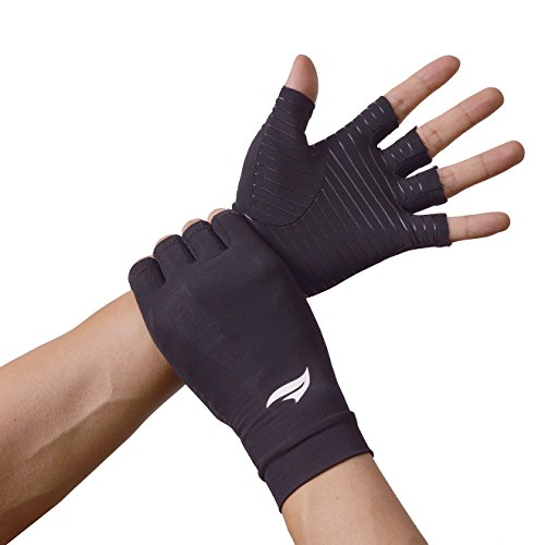 BANILLUE Copper Balance Compression Arthritis Gloves – Guaranteed Copper Infused Fit Fingerless Glove to Speed Up Recovery & Relieve Symptoms of Arthritis, RSI, Tendonitis & More – 1 Pair(Medium)