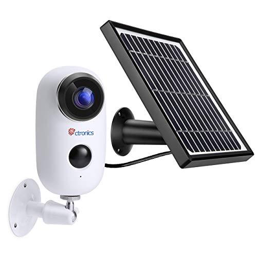 [1080P ] Telecamera di Video Sorveglianza Batteria Ricaricabile + Pannello Solare, Ctronics Wifi Senza Fili Telecamera IP con Sensore di Movimento PIR, Audio Bidirezionale a 2 Vie, Visione Notturna IR