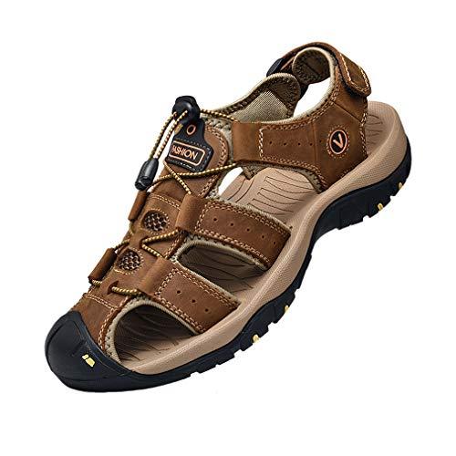 Hombre Sandalias de Verano Playa para Punta Cerrado Gancho y Bucle Al Aire Libre Excursionismo Cuero Zapatos Velcro 38-48