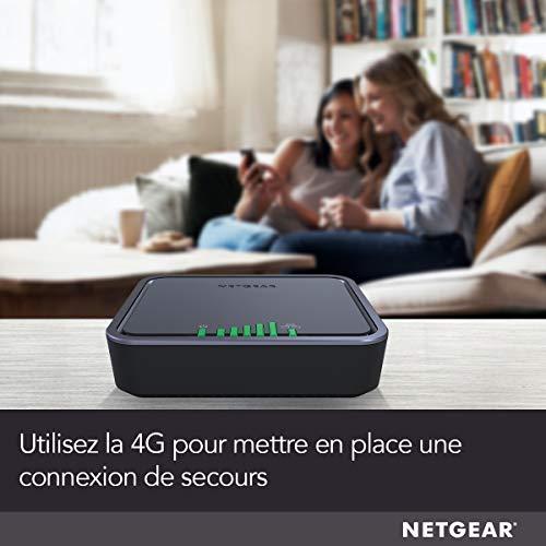 41f+Bu6VLVL._SL500_ [Bon plan] !  NETGEAR Modem 4G LTE (LB2120), Compatible avec toutes les Cartes SIM européennes, 2 ports Ethernet Gigabit, Ultra C...
