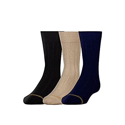 Three pairs of wide-rib crew socks with signature gold-tone rings at toes EZ Match to make pairing easy For assorted packs, colors may vary from those seen in images