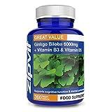 Ginkgo Biloba 6000mg Extracto estandarizado de hojas, 360 Tabletas Veganas con Vitamina B3 y B5. Aprobado por la Sociedad Vegetariana. Fabricado en el Reino Unido. Suministro por 12 meses.