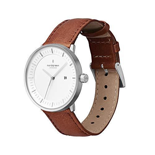 Nordgreen Philosopher skandinavische Uhr in Silber mit weißem Ziffernblatt und austauschbarem 36mm Leder Armband Braun 10038