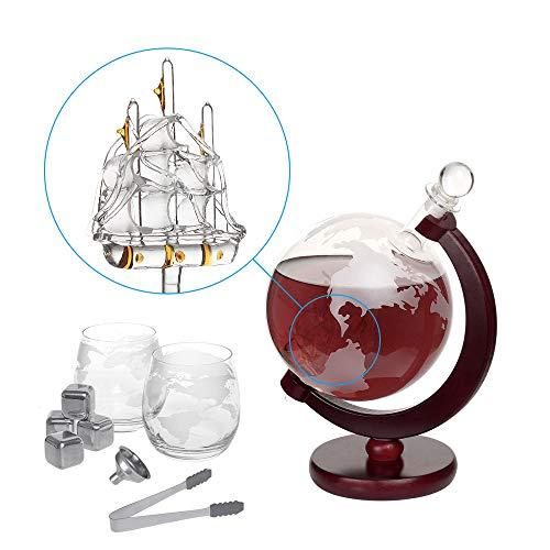 Nandae Set di Decanter per Whisky Globus Carafe 1500 ml con 2 Bicchieri, pinze per Ghiaccio, Pietre...