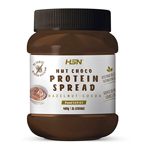 Crema Hiperproteica de Cacao y Avellanas de HSN | NutChoco con Whey Protein | Ideal para Untar en Tortitas ¡Deliciosa! | Baja en azúcar, Sin Aceite de Palma, Sin Gluten | Apto Vegetarianos | 400 gr
