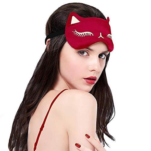 Máscara de sueño Gatos Gafas para dormir correa ajustable 100% Anti-Luz Totalmente Opaco (rojo)