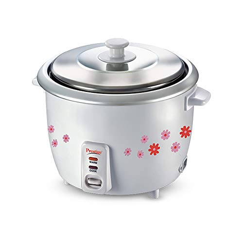Prestige PRWO 1.8-2 700-Watts Delight Electric Rice Cooker with 2 Aluminium Cooking Pans - 1L, Grey