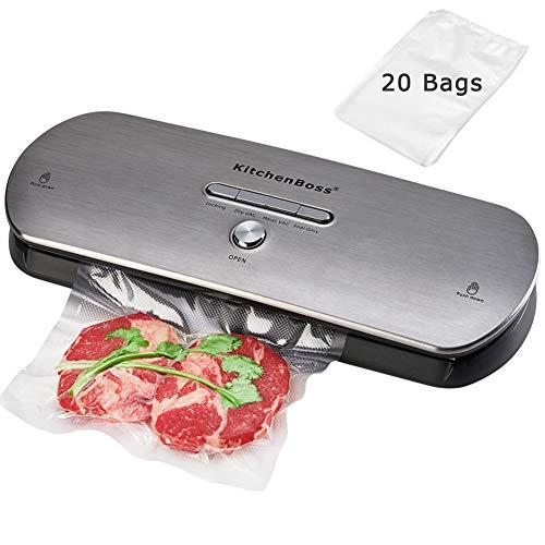 Macchina Sottovuoto per Alimenti, KitchenBoss Sigillatore Sottovuoto con 1 Tubo Accessorio e 20PCS sacchetti sottovuoto per alimenti - Acciaio inossidabile