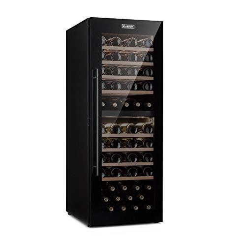 KLARSTEIN Barossa 77 Duo - Frigorifero per Vino, Cantinetta, 2 Zone: 5-20 C, 191 L, 77 Bottiglie, 100 Watt, Pannello di Controllo Touch, Illuminazione Interna a LED, Silenzioso, Nero